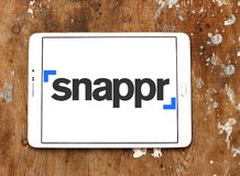 Snappr technology company logo. Logo of Snappr technology company on samsung tablet. Snappr is a technology company headquartered in San Francisco whose primary stock photo