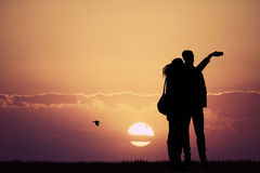 Snaps selfie at sunset. Illustration of snaps selfie at sunset Stock Images