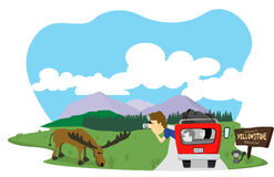 Snapshop at Yellowstone. Vector illustration of a man taking a picture of a moose at Yellowstone National Park Stock Photos