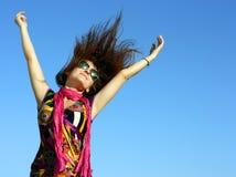 Snapshot beautiful dancing girl against the sky Stock Photos