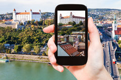 Snapshot of Bratislava Hrad castle over old town Stock Images