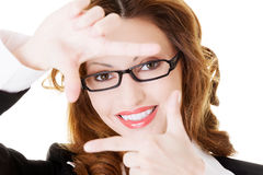 Snapshot of business woman in eyeglasses. Isolated on white Royalty Free Stock Image