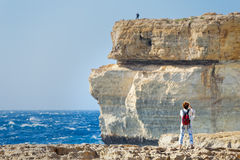 Snapshot on the cliffs of Azur Window, Gozo, Malta.  Royalty Free Stock Photography