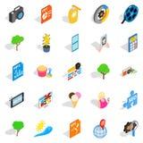 Snapshot icons set, isometric style. Snapshot icons set. Isometric set of 25 snapshot vector icons for web isolated on white background Royalty Free Stock Images