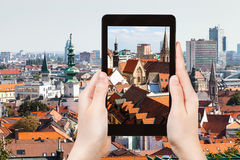 Snapshot of old town Bratislava city on tablet Royalty Free Stock Photography