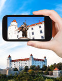 Snapshot of statue in Bratislava Hrad castle Royalty Free Stock Photos