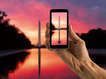 Snapshot of Washington Monument at sunrise royalty free stock photos