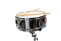 Snare Drum. A snare drum with drum sticks on a white background Royalty Free Stock Image