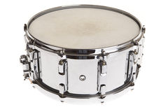 Snare Drum. Big metal snare drum isolated on white Royalty Free Stock Image