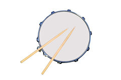 Snare Drum. Isolated snare drum with drum sticks Stock Image