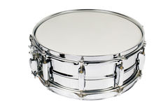Snare Drum. Big metal snare drum isolated on white Royalty Free Stock Photo