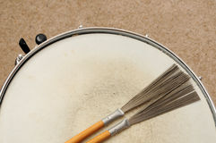 Snare Drum with Brushes Royalty Free Stock Photo
