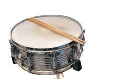 Snare drum with drum sticks on top Royalty Free Stock Photography