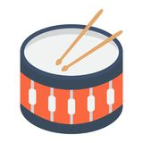 Snare Drum flat icon, music and instrument. Beat sign vector graphics, a colorful solid pattern on a white background, eps 10 Stock Image
