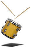 Snare Drum floating. Close up of side view of a snare drum floating with drum sticks isolated over white Royalty Free Stock Photos