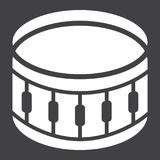 Snare Drum glyph icon, music and instrument,. Beat sign vector graphics, a solid pattern on a black background, eps 10 Royalty Free Stock Image