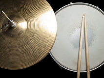 Snare drum and hi-hat. Worn drumsticks on the snare drum and hi-hat, for music,entertainment themes royalty free stock photography