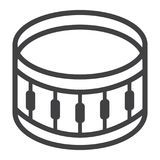 Snare Drum line icon, music and instrument,. Beat sign vector graphics, a linear pattern on a white background, eps 10 Royalty Free Stock Image