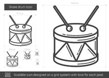 Snare drum line icon. Snare drum vector line icon isolated on white background. Snare drum line icon for infographic, website or app. Scalable icon designed on Royalty Free Stock Image
