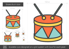 Snare drum line icon. Snare drum vector line icon isolated on white background. Snare drum line icon for infographic, website or app. Scalable icon designed on Royalty Free Stock Photos