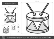 Snare drum line icon. Snare drum vector line icon isolated on white background. Snare drum line icon for infographic, website or app. Scalable icon designed on Stock Photography