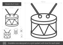 Snare drum line icon. Snare drum vector line icon isolated on white background. Snare drum line icon for infographic, website or app. Scalable icon designed on Royalty Free Stock Photography