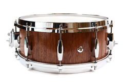 Snare drum made with merbau wood isolated. On white Royalty Free Stock Photo
