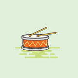 Snare drum musical equipment icon vector illustration. Musical instruments colour full snare drum with drumsticks. Render in JPG and editable EPS format Royalty Free Stock Photography