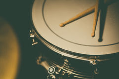Snare drum and a pair of drum sticks Royalty Free Stock Photo