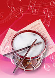 Snare drum. Picture of an instruments and music note Royalty Free Stock Photography