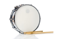 Snare Drum Set with Sticks. A new silver snare drum with sticks on a white background Royalty Free Stock Photo