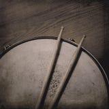 Snare Drum and Sticks. Grunge music background with Snare Drum and Sticks royalty free stock photos