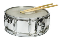 Snare drum and sticks isolated Stock Photography