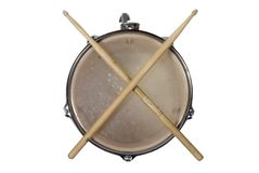 Snare drum top. Top view of a snare drum with drum sticks Royalty Free Stock Photo