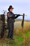Snarling Lady Gunman Royalty Free Stock Images