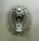 Snarling lion head door handles royalty free stock images