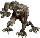Snarling Scary Werewolf. A mean snarling scary werewolf attacking the viewer Stock Photo