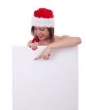 Snata claus woman with billboard Stock Photos