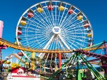 Snata Monica mola Pacyfik parka rozrywki przejażdżki Obraz Royalty Free