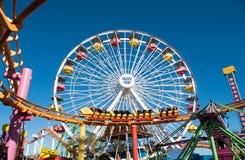 Snata Monica mola Pacyfik parka rozrywki przejażdżki Zdjęcie Royalty Free
