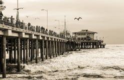 Snata Monica plaży zimy dzień Obraz Royalty Free