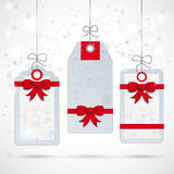 Snawfall 3 Price Stickers Red Ribbons. Christmas price stickers with snowflakes on the white background Stock Photography