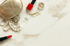 Snazzy supplies. Fashion and beauty products frame white marble copy space Stock Images