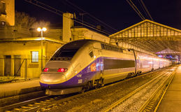 SNCF TGV Duplex train on Beziers station. BEZIERS, FRANCE - JANUARY 05: SNCF TGV Duplex train on Beziers station on January 5, 2014. TGV trains carried more than Stock Image