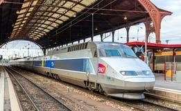 SNCF TGV train in Strasbourg. STRASBOURG, FRANCE - APRIL 14: SNCF TGV train at the main station on April 14, 2013 in Strasbourg, France. TGV trains carried more Stock Photography