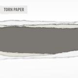 Sönderrivna pappersstycken på grå färger Arkivfoton