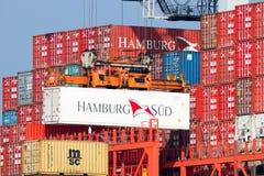 Sändnings för Hamburg Sudbehållare Arkivfoton
