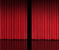 Sneak Peek. Behind The curtain sneak a peek into a future announcement on rumors of new products and movie performances at the theater or store opening with red Stock Photography
