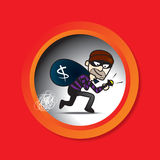 Sneak Thief. Illustration of Sneak Thief with red background Stock Photos