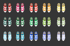 Sneaker. Illustration of variouson sneaker  a black background Royalty Free Stock Photo